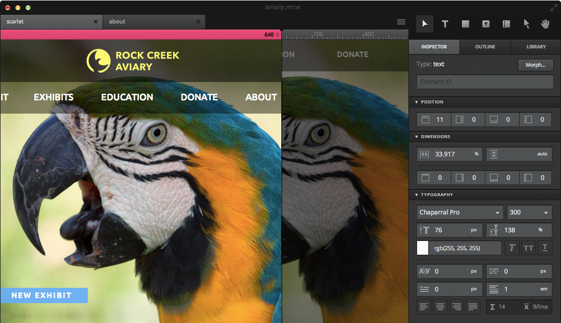 Macaws sleek interface